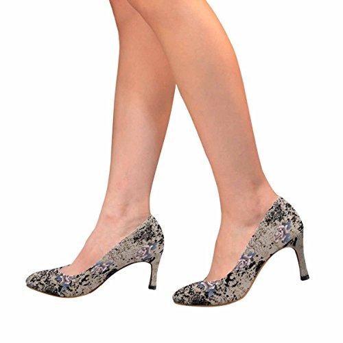 InterestPrint Womens Classic Fashion High Heel Dress Pump a Vintage Lettering khAOZNpr