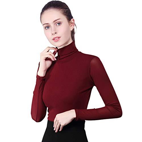 (Fendou Womens Turtleneck Long Sleeve Stretchy Slim Fit T-Shirts Top (XXXL, Wine red))