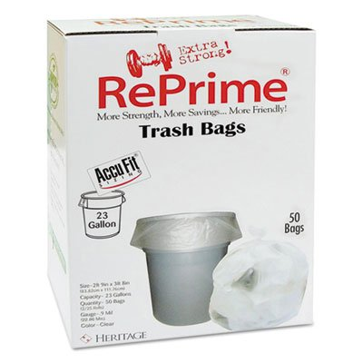 RePrime H5645TCRC1CT Can Liners 23gal 0.9mil Clear 28'' x 45'' 50/Box 6 Boxes/Carton