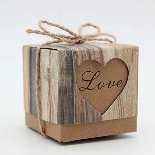 - 50Pcs Wedding Favor Boxes,2x2x2 Inches Rustic Candy Boxes,Love Kraft Paper Boxes with Jute Twine