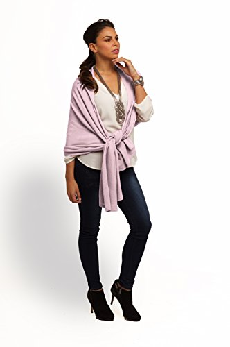 Super Soft Oversized 100% Cashmere Travel Blanket Scarf Wrap - Soft Pink