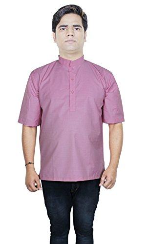 Mens debout courtes en coton col kurta t-shirts avec manches courtes