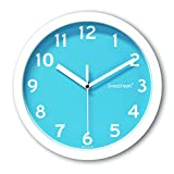 Decowall DSH-S22BL 8.8' Non-ticking Silent Modern Wall Clock DIY for Living Room Bedrooms Office Kitchens (22.5cm, Blue)