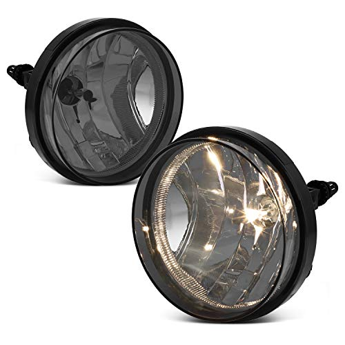 (For 2007-2013 GMC Sierra Pickup Bumper Smoke Driving Fog Lights Lamps Left+Right Replacement + Bulbs)