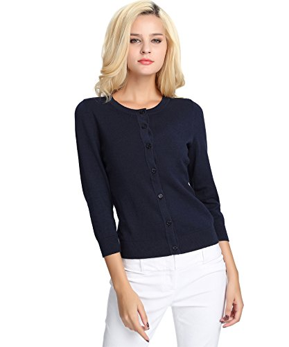 YTUIEKY Women Button Long Sleeve Soft Knit Cardigan Sweater Knit Wear 3/4 Sleeve