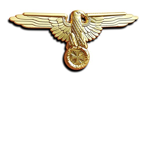 German Badge Visor Cap Eagle Iron Cross Pin Gold Tone Repro