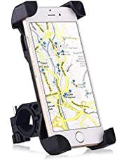 Bike Mount, Universal Cell Phone Bicycle Handlebar & Motorcycle Holder Cradle with 360 Rotate for iPhone 6s 6 5s 5c 5,Samsung Galaxy S5 S4 S3, Google Nexus 5 4 and GPS Device Up to 3.7in wide black
