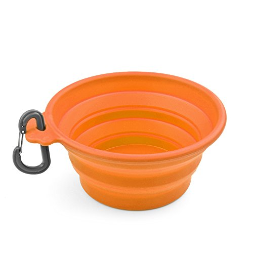 Flexzion Dog Collapsible Bowl (Orange) Silicone Pop Up Travel Feeder Pet Cat Puppy Animal Food Water Container Dish Portable with a Free Carabiner Clip Home Outdoor Use