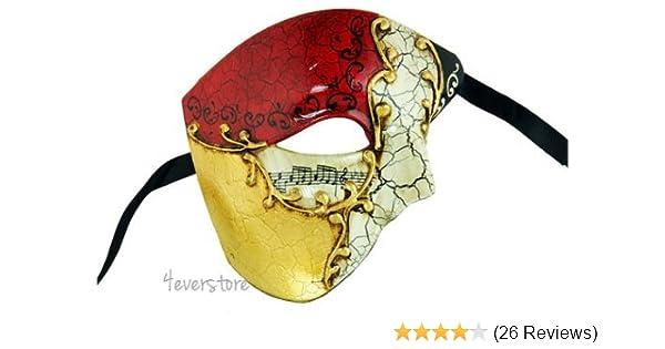 Half Men Face Mask Black Musical Venetian Phantom Masquerade Mask