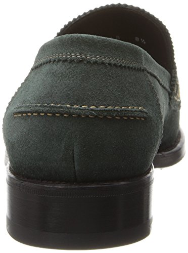 A.testoni Heren Split-teen Penny Loafer Alloro Green Barbour Suede