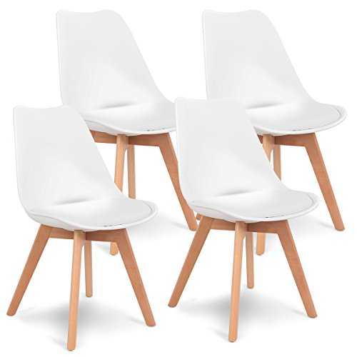 Giantex Set of 4 Mid Century Dining Chairs Modern Home Dining Room Kitchen Waiting Room DSW Armless Side Chair w/Padded Seat Wood Legs White