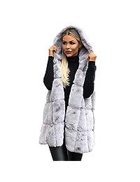 GNIKWAH Womens Warm Sleeveless Vest Faux Fur Hoodie Pullover Casual Cardigan Coat