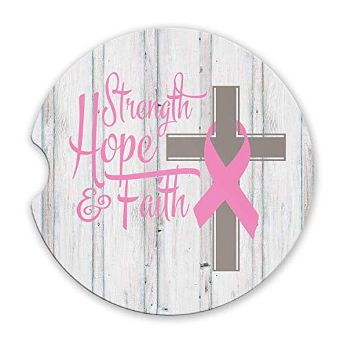 Strength Hope and Faith Sandstone Car Coasters Breast Cancer Pink Ribbon and Cross, Set of 2 ()