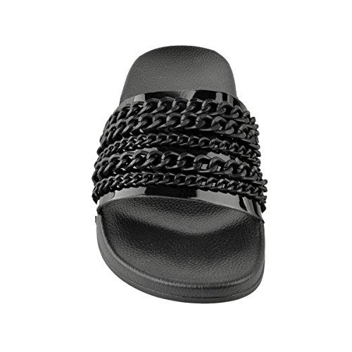 Fashion Thirsty heelberry Mujer Cadena Verano Deslizables Sandalias tropiconic Desliza Playa Sin Cordones Talla negro patente