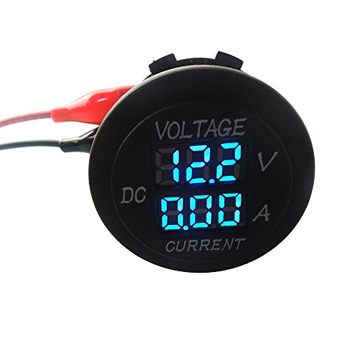 uniquegoods Digital Multimeter Voltmeter Socket for Boat Marine Vehicle Motorcycle Truck ATV UTV Car Camper LED Round Panel Blue by uniquegoods