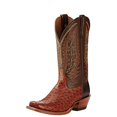 ARIAT Men's Super Stakes Western Boot Brandy Full Quill Ostrich Size 13 M Us