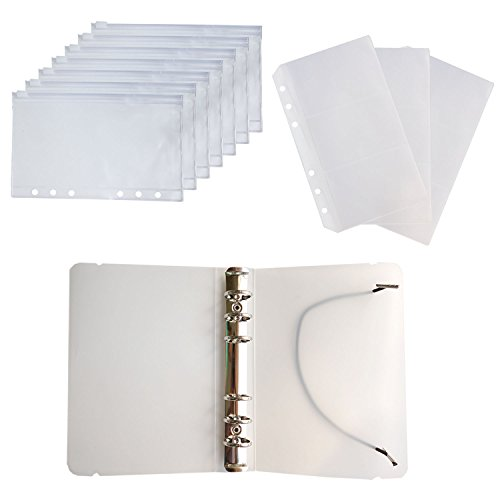 D-Worthy 7 pcs Translucent Plastic A6 Size Ziplock Envelope Case Bill Pouch 3 pcs Pockets Name Card Bag with 1pcs 6 Hole Round Ring Binder Cover ()