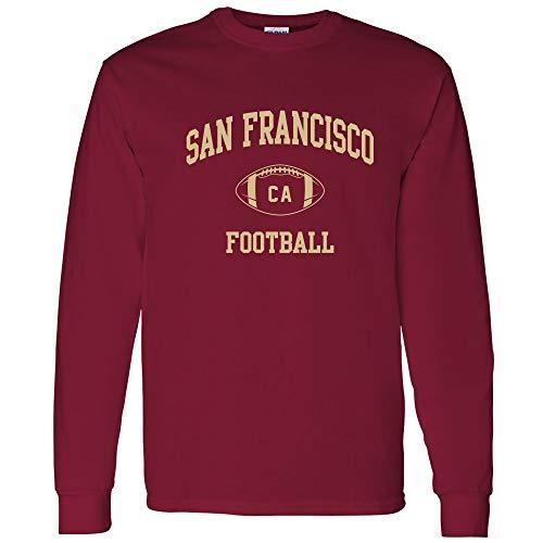 Cardinals Red T-shirt Football (San Francisco Classic Football Arch American Football Team Long Sleeve T Shirt - 2X-Large - Cardinal)