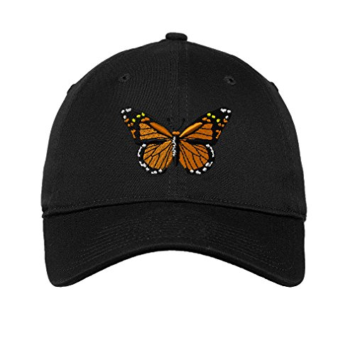 Monarch Butterfly Embroidered Unisex Adult Flat Solid Buckle Cotton Unstructured Hat Low Profile Cap - Black, One Size ()