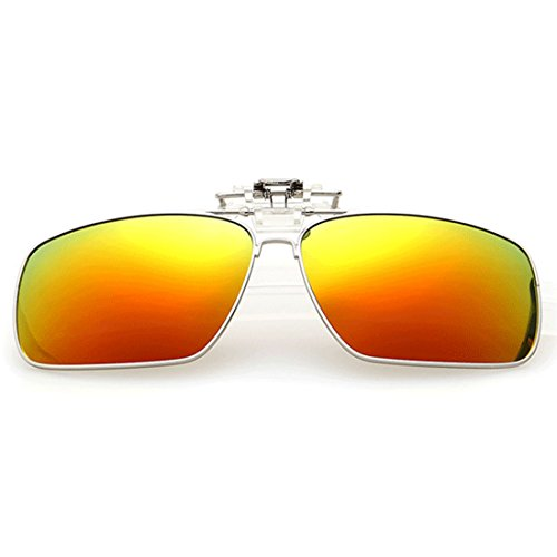 Clip sol en Rojo gafas Dorado polarizado de gafas de Unisex Inlefen Flip Clip rectangulares sol Metal up polarizadas qzAOwFn