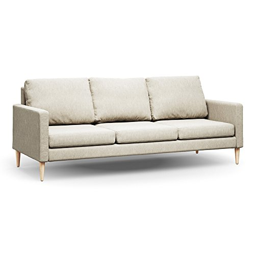 Campaign 86-Inch Steel Frame Brushed Weave Sofa, Almond White with Solid Maple ()