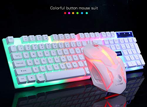 Aobiny Keyboard and Mouse, GT300 Colorful LED Illuminated Backlit USB Wired PC Rainbow Gaming Keyboard Mouse Set (White)
