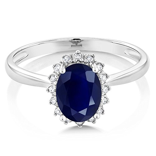 10K White Gold Blue Sapphire and Diamonds Gemstone Birthstone Women's Engagement Ring (1.79 Ctw Oval Available in size 5, 6, 7, 8, 9)