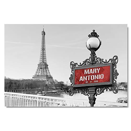 Paris Metro Eiffel Tower - Personalized Paris Metro Sign Photo Eiffel Tower Wall Art Wedding Anniversary Print