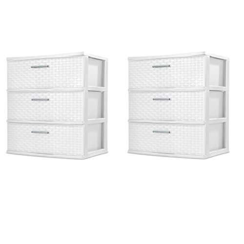 Sterilite 3 Drawer Wide Weave Tower, White - 2 Pack (White Small Drawers)