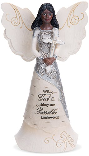Pavilion Gift Company 82382 with God All Things are Possible Ebony Angel Figurine, 6-1/2
