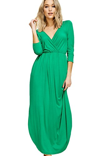 Annabelle Women's Solid Print Maxi Dress Featuring V-Neck Wrap 3/4 Sleeve Empire Pleated with Slit and Pockets Kelly Green Large D5241B