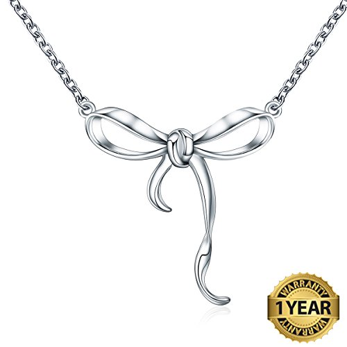 Bow Necklace Platinum Plated 925 Sterling Silver Bow-Knot Pendant Necklace for Girls Christmas Gifts