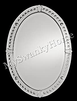 Large 34 Oval Etched Venetian Wall Mirror
