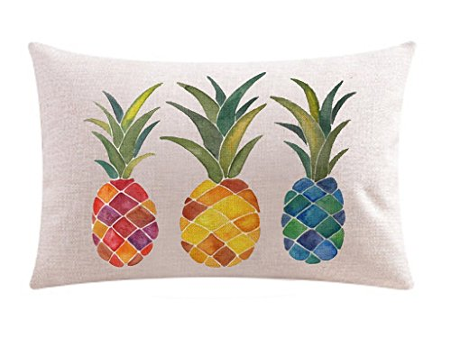 Andreannie Ink Painting Fresh Color Fruit Pineapples Cotton Linen Throw Waist Lumbar Pillow Case Cushion Cover Home Office Decorative Rectangle 12 X 20 Inches ()