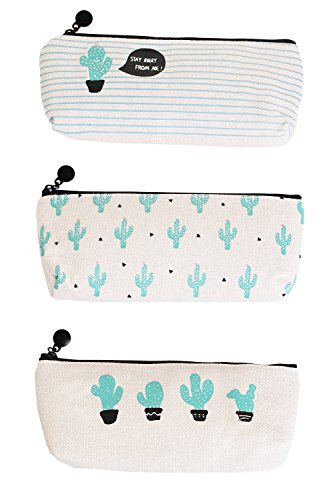 HiChange Canvas Student Pencil Case Pen Bag Coin Purse Pouch Cosmetic Makeup Bag (Set - Of A Card Size Credit Average