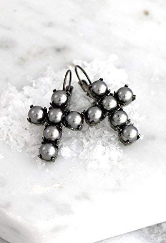 Silver Cross Earrings, Gothic Elegant Grey Earrings, Bridal and Party Statement Dark Jewelry, Swarovski Pearls Drop Dangle Earrings, Handmade Designer Gifts for Her