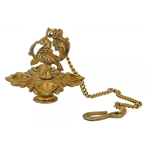 Zap Impex ® Traditional Peacock 4 in 1 Brass Hanging Diya with 15 Inch Chain | Deepak | Oil Lamp | Home Décor | Spritiual Gift