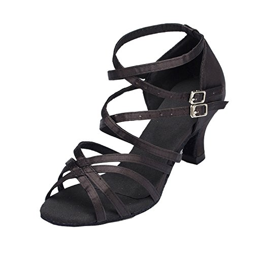 Minitoo Femme Th121Cross Sangle Chaton Talon en satin pour mariage piste de danse latine Taogo Dance Sandales - Noir - noir,
