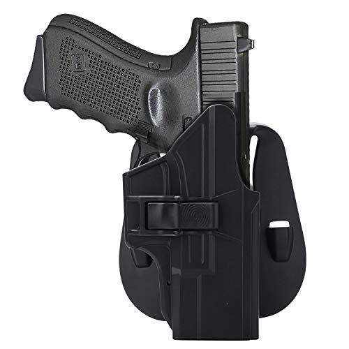 HQDA Paddle Holster: Fits Glock 19 19x 23 32 45 (Gen 1-5), G19/G23 Holder Tactical Outside Waistband Concealed Carry - Adj. Cant Pistol Handgun Case, Polymer OWB Holsters, Index Finger Release, RH