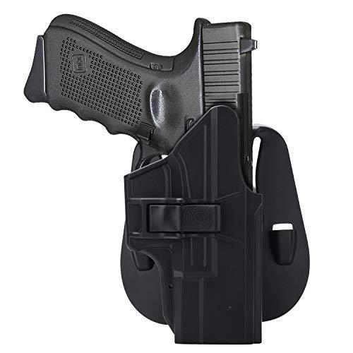 HQDA Paddle Holster: Fits Glock 19 19x 23 32 45 (Gen 1-5), G19/G23 Holder Tactical Outside Waistband Concealed Carry - Adj. Cant Pistol Handgun Case, Polymer OWB Holsters, Index Finger Release, RH (Glock 23 Gen 1 2 3 4)