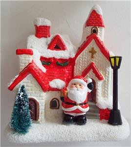 (NEW SANTA CHURCH VILLAGE Ceramic CHRISTMAS SCULPTURE Twinkle Lights Colors)