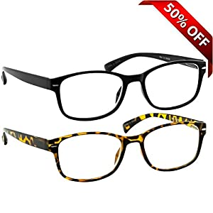 Reading Glasses 2 Pack Black & Tortoise Always Have a Timeless Look, Crystal Clear Vision, Comfort Fit With Sure-Flex Spring Hinge Arms & Dura-Tight Screws 100% Guarantee +4.00