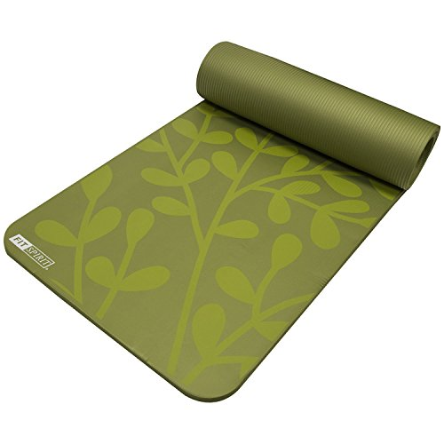 "Fit Spirit Extra Thick Yoga Mat Olive Green ½"" Inch - Green Thick Mat"