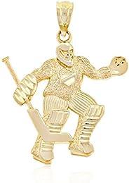 Charm America - Gold Hockey Goalie Charm - 10 Karat Solid Gold
