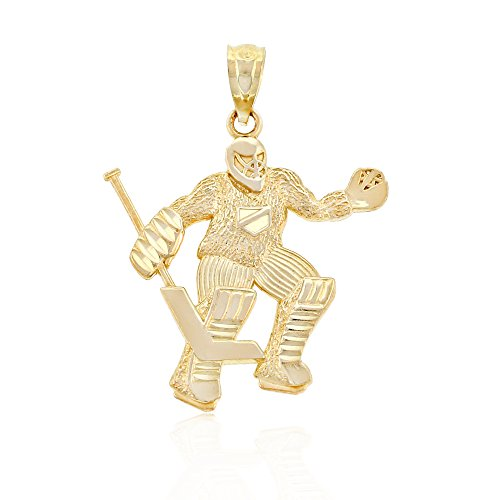 Charm America - Gold Hockey Goalie Charm - 10 Karat Solid - Hockey Gold Charm Goalie
