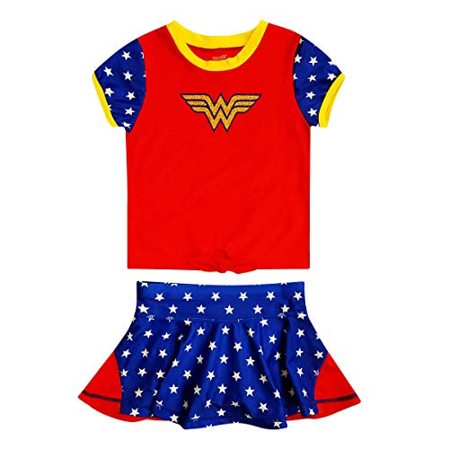 Dreamwave Girls DC Comics Rash Guard Set (Wonder Woman, 5)]()