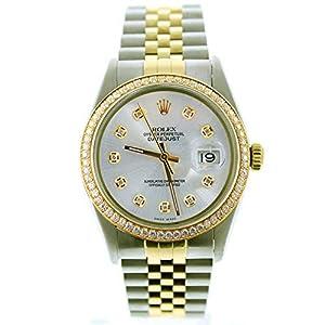 Best Epic Trends 41r5YklLIiL._SS300_ Rolex Mens Datejust 16013 36mm Steel & Gold Datejust Custom Added Silver Diamond Dial & Custom 1CT Diamond Bezel…