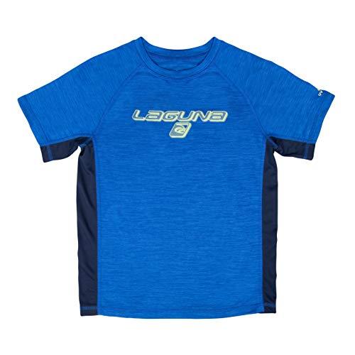 LAGUNA Boys Space Dye Crewneck Short Sleeve Loose Fit Rashguard Swim Sun Tee Shirt, UPF 50+, Blue Spacedye/Navy Blue, 14/16