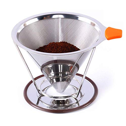 Aolvo Pour Over Coffee Dripper/Filter/Maker Stand, Stainless Steel Drip Coffee Cone, Paperless Coffee Filter, Reusable Iced Coffee Filter 2-4 Cups Home, Travel, Camping by Aolvo