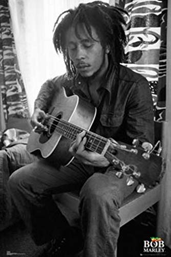 GB Eye Limited Bob Marley Playing Guitar Black and White Music Poster 24x36 inch